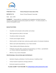 Clinical Research Associate Resume Samples Bongdaao Com