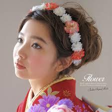 髪飾り 成人式 振袖向け 浴衣向け 七五三 結婚式 赤 花冠 花かんむり カチューシャタイプ フラワ