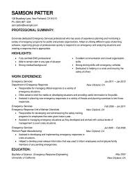 Emergency Services Combination Resume Resume Help