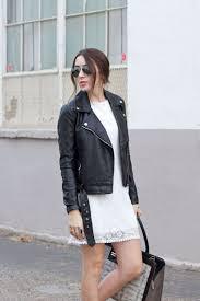 white lace dress black leather moto jacket snakeskin purse