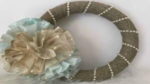 diy dollar tree burlap pearl and coffee filter wreath idea easy burlap wreath