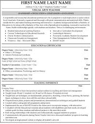 Visual Arts Teacher Resume Sample & Template