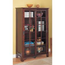 locking bookcase glass doors vintage brown wooden with sliding asian style plus tiered shelveetal