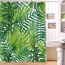nordic style palm leaf shower curtain tropical plants printed curtain floor mat for bathroom waterproof 3d