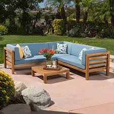 wood outdoor sectional. Ravello Outdoor Patio Furniture ~ 4 Piece Wood Sectional Sofa Set W/ Water Resistant P