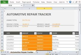 Car Repair Tracker Template For Excel 2013