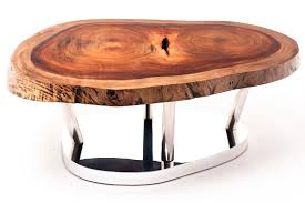 contemporary coffee table wooden in reclaimed material tamburil slab base