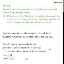 ex 3 2 1 form pair of linear equations in following problems ex 3 2