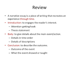 unit narrative essay review a narrative essay is a piece of  review a narrative essay is a piece of writing that recreates an experience through time