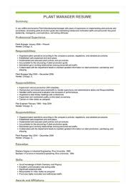 Production Manager Resumes Sample Plant Manager Resume
