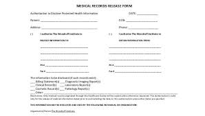 Sample Medical Records Release Form Free 8 Sample Medical Records Release Forms In Pdf Word
