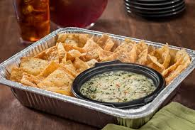 cater your event with spinach artichoke dip and warm pasta chips which serves 4