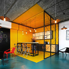 industrial style office. Office Kitchen In Bright Yellow With Industrial Style