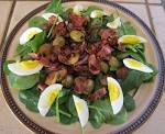 Spinach salad dressing with bacon