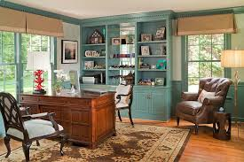 teal and gold bedding home office traditional with pleated valance light green patterned wallpaper blue brown home office