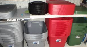 red gray storage bins