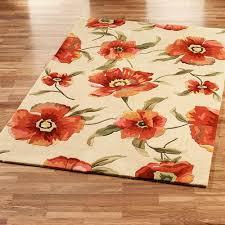 poppies area rug ivory orange