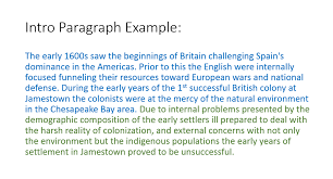 long essay ms ferrari s ap us history example of contextualization and thesis for the question to what extent if any did the demographic and environmental conditions of jamestown cause so