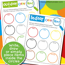 Find all the coloring pages you want organized by topic and lots of other kids crafts and kids activities at allkidsnetwork.com. Printable Colour Scavenger Hunt For Kids Messy Little Monster