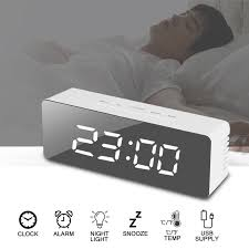 alarm clock large digital led display portable modern battery operated mirror 1 of 10free