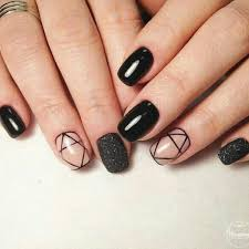 stunning black short acrylic nails design with and glitter nails