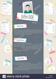 Modern Resume Cv Curriculum Vitae Template Design With Color Tapes