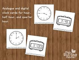 Quarter Cards Telling Time Matching Cards For Hour Half Hour Quarter