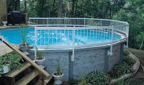 pool fancy decorating ideas using white wooden hand rails and swimming handrails stainless steel in ground