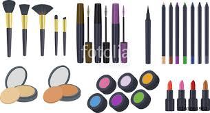 cosmetics clipart makeup clipart clipart set of eyeshadow brush eyeliner lipstick
