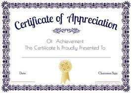 Free Appreciation Certificates Free Printable Certificate Of Recognition Pics Certificate