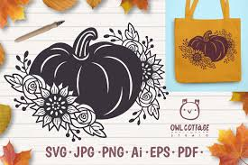 Free halloween treat box shaped like a coffin can hold goodies for a halloween party. Floral Pumpkin Svg Halloween Floral Decor Fall Svg 856914 Illustrations Design Bundles