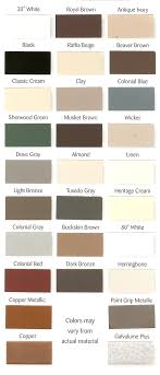 Weather Color Chart Weathershield Gutters Color Chart