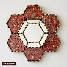 hexagonal red wall mirror 11 8 from