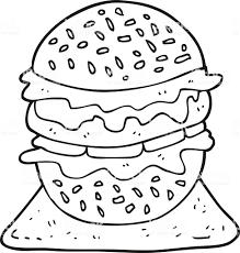 Bianco E Nero Fumetto Gustoso Hamburger Immagini Vettoriali Stock