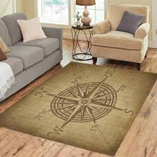 interestprint grunge compass rose area rugs carpet 7 x 5 feet vintage navigation compass modern carpet