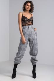 front view i am gia cobain pants in black check