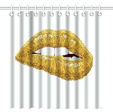 lips shower curtain x inch shower gold glitter lips art white and gold lips shower curtain