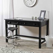 ... L Shaped Writing Desk Rectangle Black Wooden With Double Drawers Using  Round Pull Out Knobs Having ...