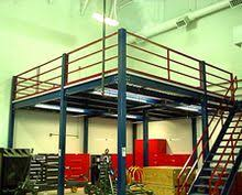 A structural steel mezzanine used for industrial storage