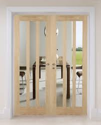 oak aston clear glass internal door pair