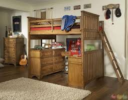 Bedroom: Vintage Full Size Wooden Loft Bed Design With Desk Underneath  Including Wooden Chest Of