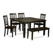 6 Pc Dining Room Set With Bench Table With Leaf And 4 Dining Chairs
