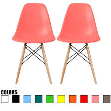 com 2xhome set of two 2 pink eames side chair eames chair pink seat natural wood wooden legs eiffel dining room chairs no arm arms armless