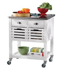 linon home décor s 30 inch white kitchen cart with stainless steel top 2 drawer and 2 removable crates