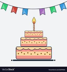 Flat Birthday Cake Designs Birthday Cake And Bunting Flags Flat Design