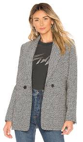 anine bing fishbone blazer in black size xs
