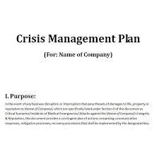 crisis management plan example free downloadable template a plan for crisis management