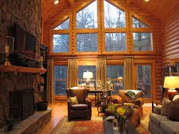 Log Cabin Living Room Decor Interior Hunting Rustic Cabin Living Room With Antler Light