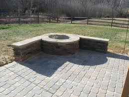 outdoor fireplace paver patio: paver patio with stone firepit in charlotte