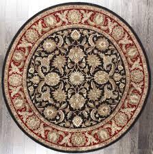 rugsville antique vintage persian fl black red wool round rug 213213